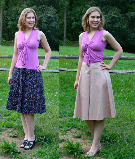 Kwik Sew 3337 Circle Skirts (Marc Jacobs cotton poplin and Marc Jacobs jacquard cotton sateen) with Jalie twist top (modal lycra jersey)