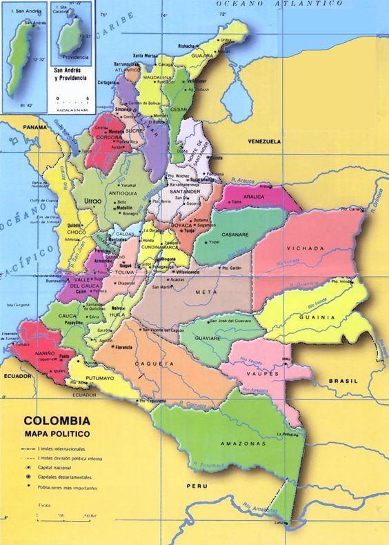 Mapa politico de Colombia con sus departamentos y Capitales6
