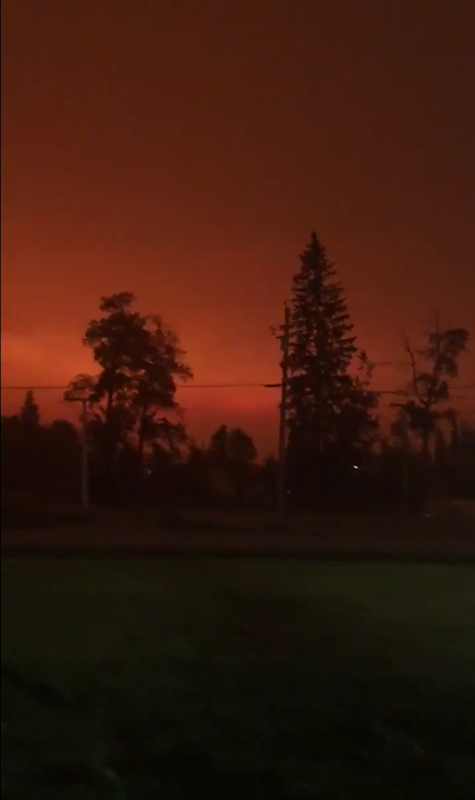 Screenshot from a video posted by Janelle Lapointe on 14 August 2018, showing the sky darkened by smoke from the wildfires in British Columbia. 'It's only 3PM but the smoke decided it was night time.' Photo: Janelle Lapointe