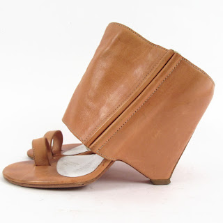 Maison Martin Margiela Tan Leather Wedge Sandal Slides