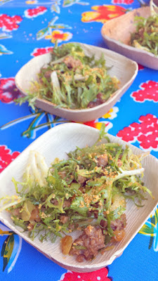 Johanna Ware of Smallwares offered a dish of Sichuan Cumin Lamb Salad with peanut sauce, celery and mint