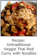 recipe for an untraditional vegetarian thai red curry with noodles or rice