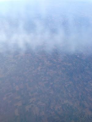 機内の窓から見たアメリカの大地