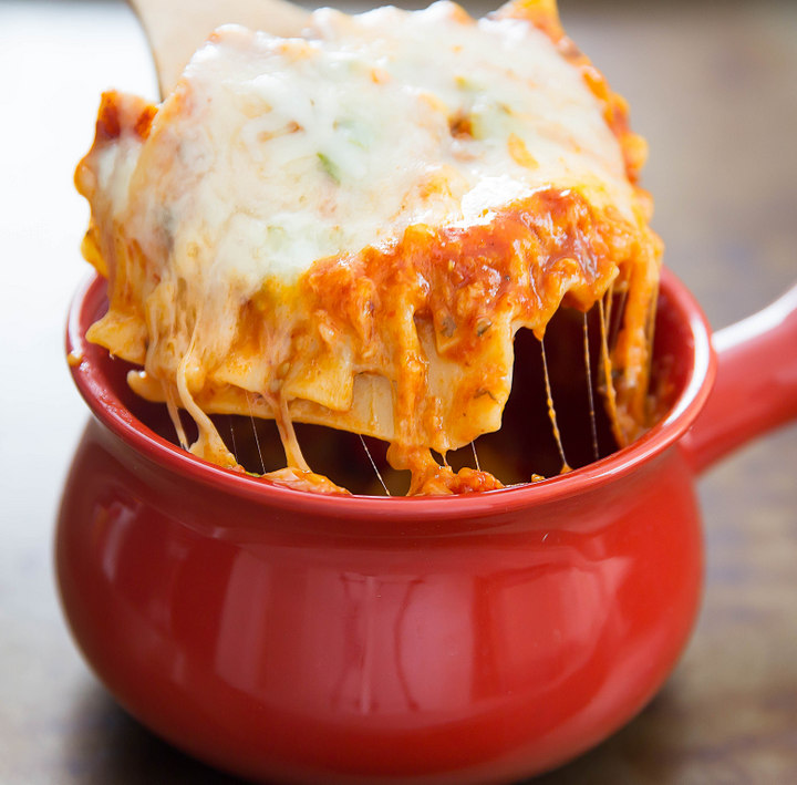 photo of fork lifting the Lasagna out of the bowl