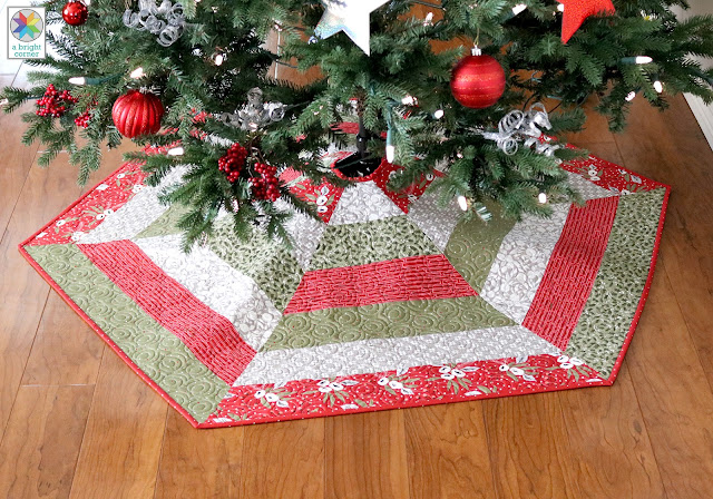 Holly Jolly quilted Christmas tree skirt pattern by Andy Knowlton of A Bright Corner