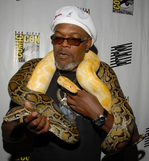 Samuel Jackson and two snakes