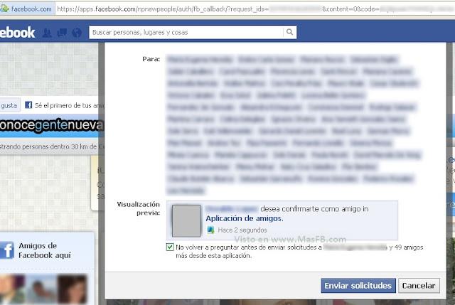 spam aplicacion de amigos FB