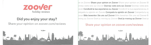Engelstalig kaartje van Zoover