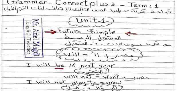 تحميل ملزمة القواعد Grammar في منهج اللغة الإنجليزية كونكت بلس 1 ثالثه ابتدائي لغات الترم الأول 2021