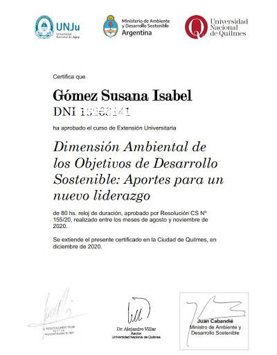 Curso de Extensión Universitaria Dimensión Ambiental de los Objetivos de Desarrollo Sostenible