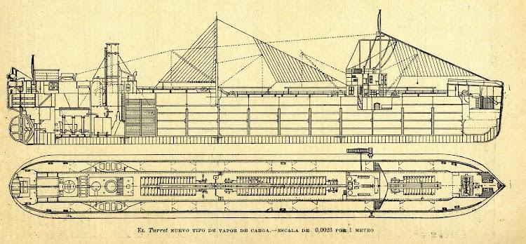 Planos esquematicos del vapor TURRET. De la REVISTA DE NAVEGACION Y COMERCIO. Año 1893.jpg