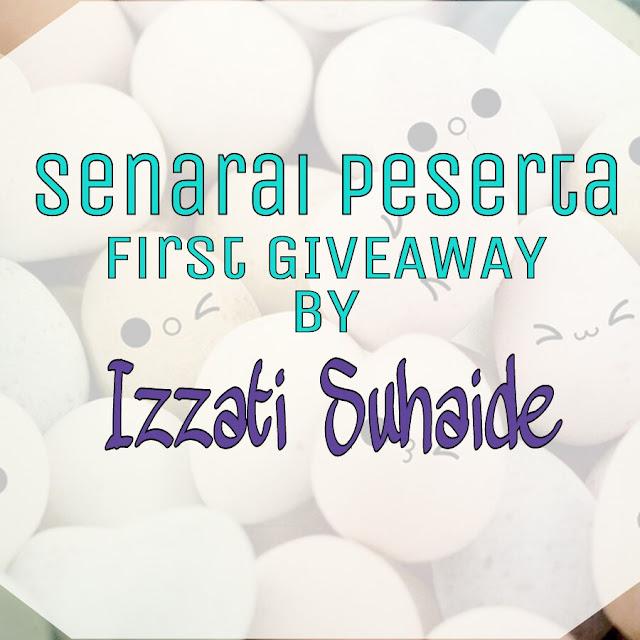 Senarai Peserta First Giveaway By Izzati Suhaide