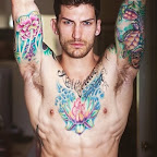 Lotus flower men chest - tattoos ideas