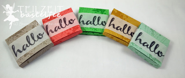 Stampin' Up! - Give Aways, Ritter Sport Minis, SAB Hello, SAB Hallo, Gorgeous Grunge, Box