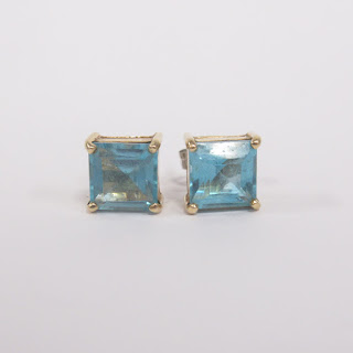 14K Gold and Aquamarine Earrings