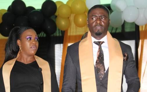 Ruth Matete with his Husband John Apewajoye. FILE