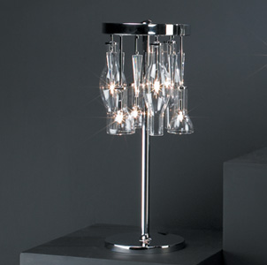 Contemporary cool lamp in chrome with glass: Lab-T Chandalier from LampLust.com