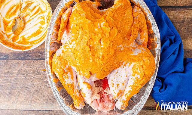 smoked turkey rub on the turkey