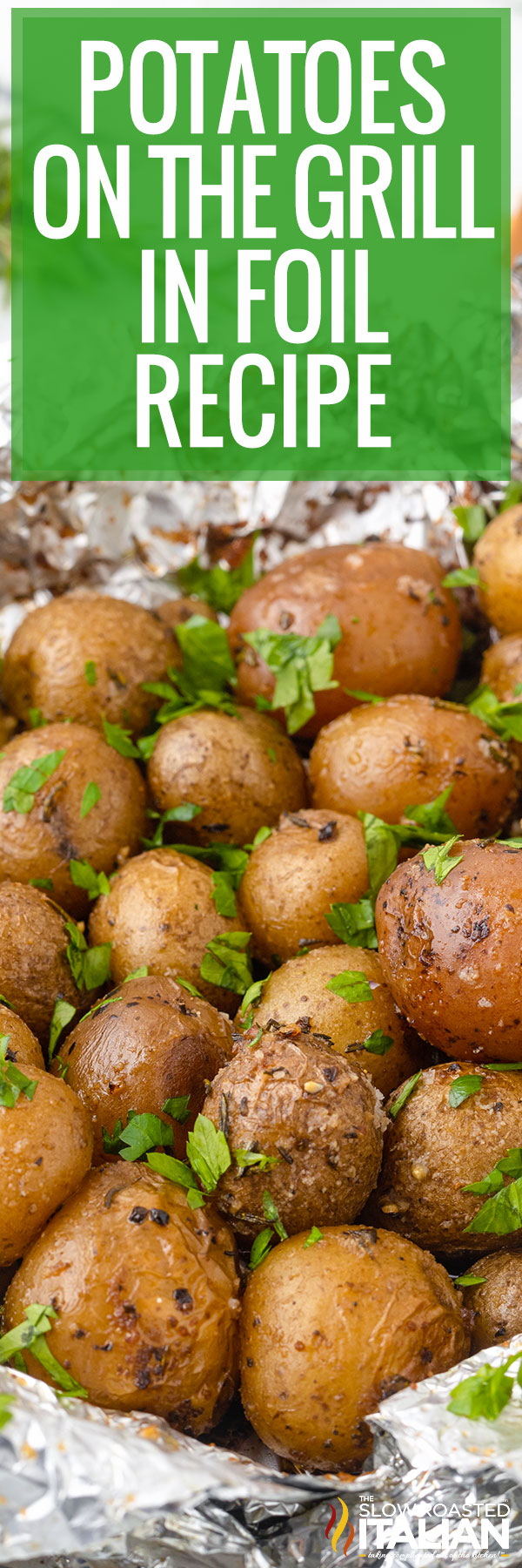 Potatoes On The Grill In Foil close up