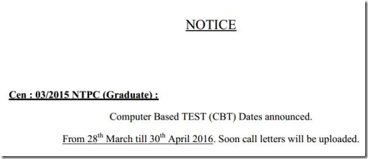 RRB exam dates