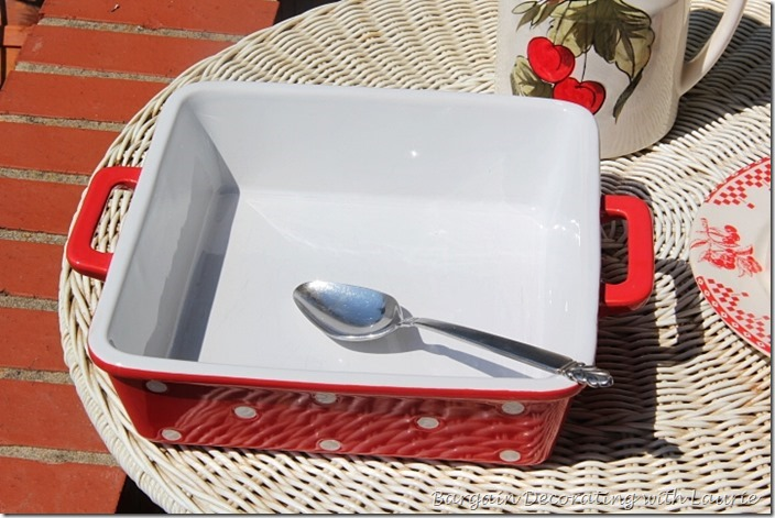 Red and white casserole dish