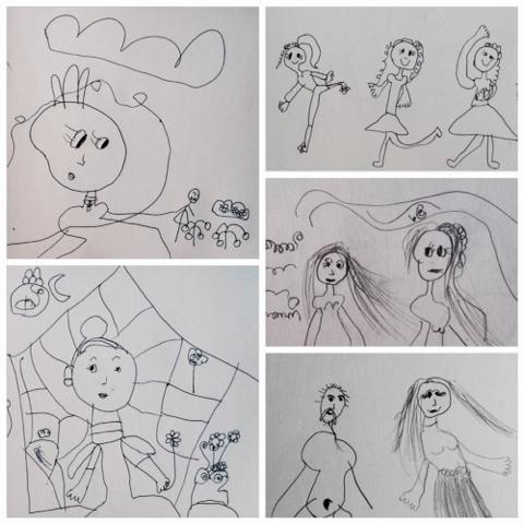 Viisivuotiaan lapsen piirtämiä ihmisiä - People, drawn by a five year old child