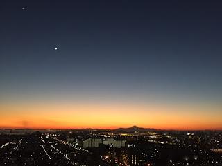 新浦安からの富士山、月、金星