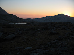 Sunset. One of the Gallison Lakes on the left.