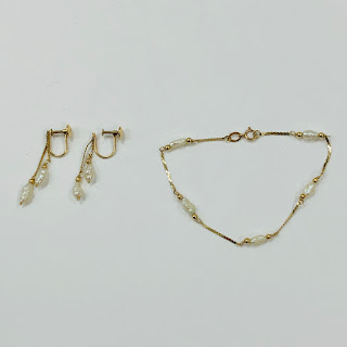 14K Gold and Pearl Bracelet and Earring Set