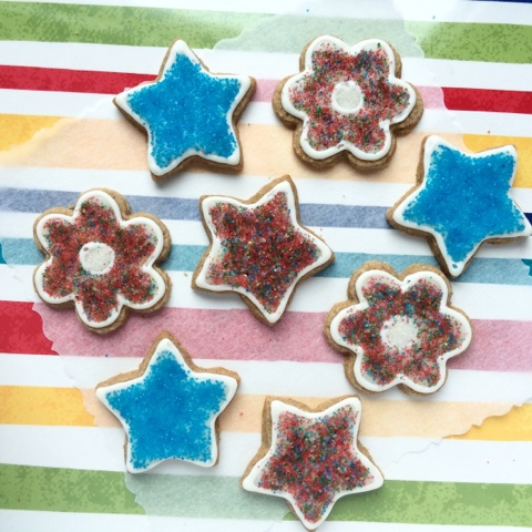 decorated oatmeal-brown sugar cut-out cookies