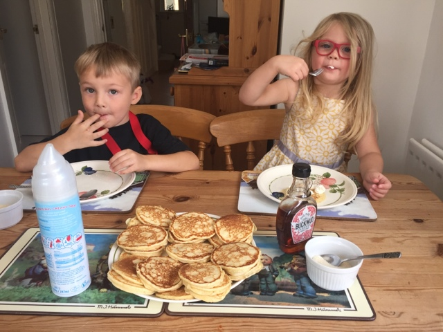 Blake and Maegan Clement with home made pancakes - thank you Grandma