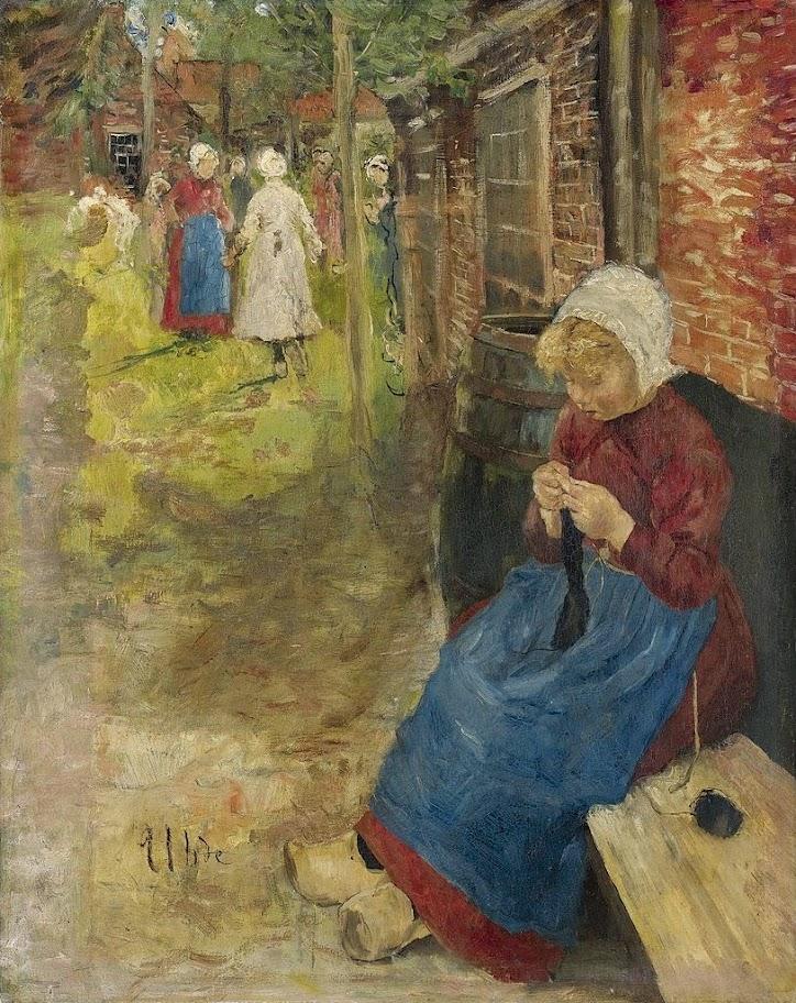 Fritz von Uhde - Strickendes Mädchen