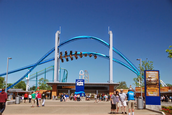 Main entrance to Cedar Point. Gatekeeper rollercoaster above! Guest services to the right