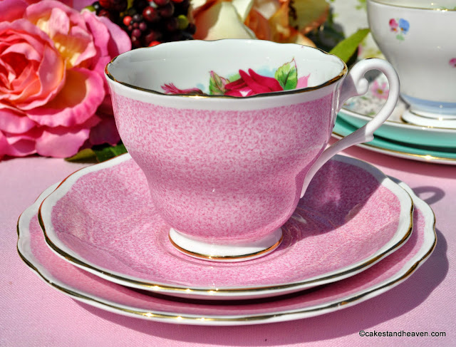 raspberry pink vintage bone china tea trio