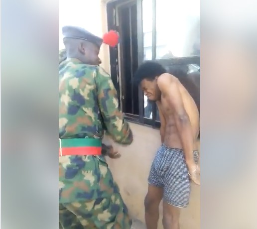Nigerian Cadets Strip Off Young Man's Clothes, Assault Him Publicly. Photos