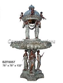 Bronze, Cherub, Fountain, Musician, Statue, Women