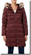 Eliza J satin down coat with faux fur hood