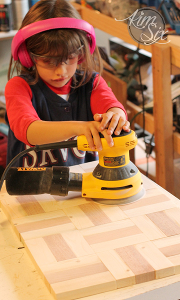Teaching kids how to use sander