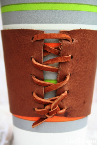 leather laced cup cozy