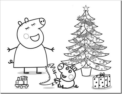 Dibujo en blanco y negro Peppa Pig de Navidad fiesta