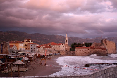 Old town in Budva Montenegro at sunset
