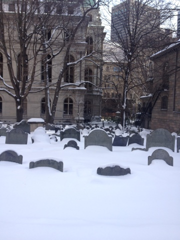 Boston Church graves in snow