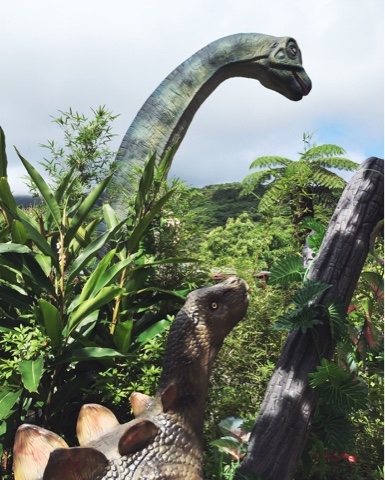 Dino Park in Nago, Okinawa is on route 84 next to Okashigoten, the Sweet Potato factory. It felt like walking around in Jurassic Park