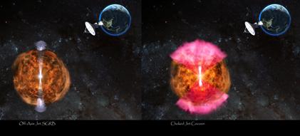 ilustração da colisão entre duas estrelas de nêutrons