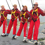 trying out the notorious EdgeWalk at the CN Tower in Toronto in Toronto, Ontario, Canada