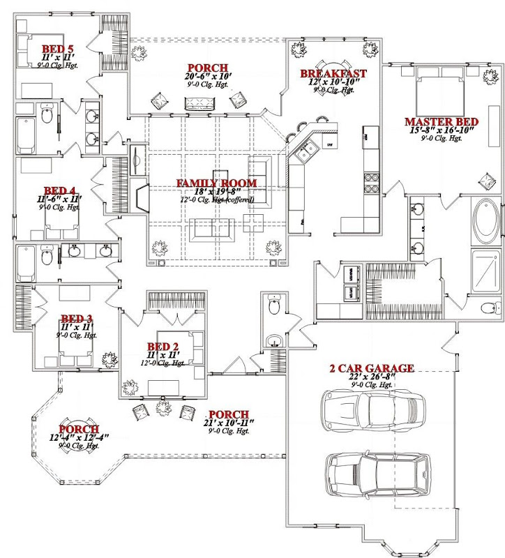 One story 5 bedroom house plans on any websites 5 bedroom floor plans