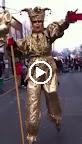 Gold Jester on Stilts
