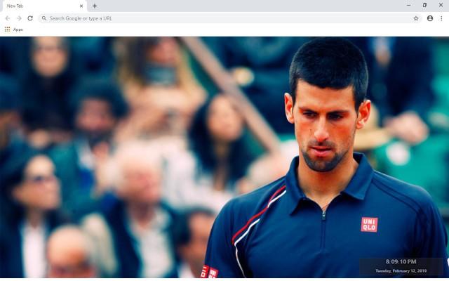 Novak Djokovic New Tab Theme