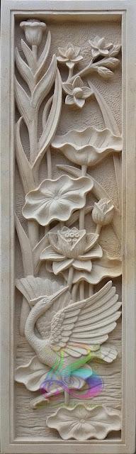relief lotus dan angsa batu alam paras jogja