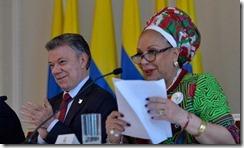 La dirigente Piedad Córdoba encabezó la visita que ofrecieron al Presidente Santos, representantes de organizaciones sociales y de la izquierda democrática a la Casa de Nariño.